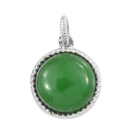 One Time Mega Deal-Green Jade (Rnd) Pendant in Platinum Overlay Sterling Silver 6.500 Ct.