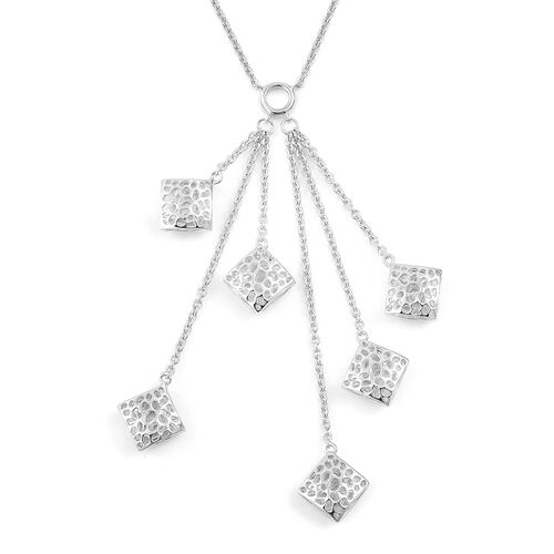 RACHEL GALLEY Rhodium Plated Sterling Silver Memento Diamond Cluster Necklace (Size 18), Silver wt 1
