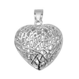 Designer Inspired-Sterling Silver Heart Pendant, Silver wt 6.17 Gms.
