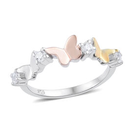 J Francis - Platinum, Yellow Gold and Rose Gold Overlay Sterling Silver (Rnd) Butterfly Ring Made with SWAROVSKI ZIRCONIA