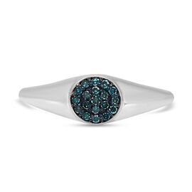 Blue Diamond Ring in Platinum Overlay Sterling Silver 0.20 Ct.