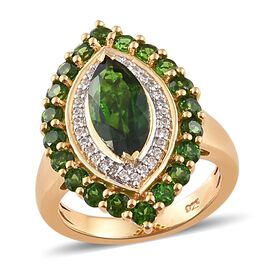 Russian Diopside (Mrq 12x6 mm), Natural Cambodian Zircon Ring in 14K Gold Overlay Sterling Silver 3.