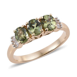 1.50 Ct Russian Demantoid Garnet and Diamond Trilogy Ring (Size N) in 14K Yellow Gold 2.05 Grams