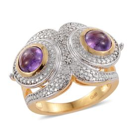 Amethyst (Rnd), Diamond Cocktail Ring in ION Plated 18K Yellow Gold Bond 2.750 Ct.