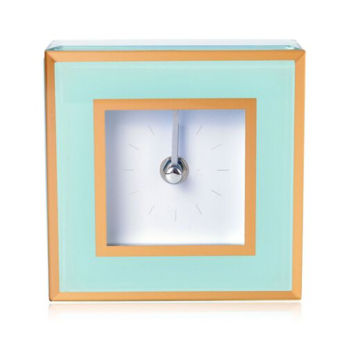 Home Decor - Green Colour Square Shape Clock with Glass at Front (Size 12X12X4.5 Cm)