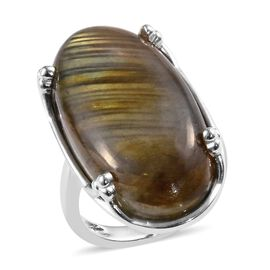 Labradorite (Ovl 30x15 mm) Solitaire Ring in Sterling Silver 20.00 Ct.