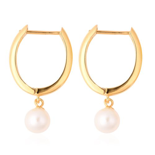 Japanese Akoya Pearl Hoop Earrings (with Clasp) in Yellow Gold Overlay Sterling Silver