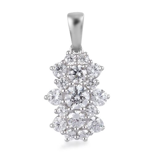 J Francis Platinum Overlay Sterling Silver Pendant Made with SWAROVSKI ZIRCONIA 2.26 Ct.