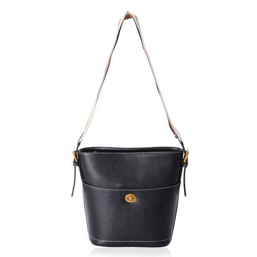 100% Genuine Leather Black Colour Shoulder Bag with External Zipper Pocket (Size 27x23x20x11.5 Cm)