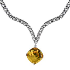 J Francis Swarovski Crystal Necklace in Platinum Plated Silver 31.74 Grams 18 Inch