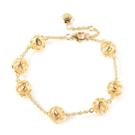 RACHEL GALLEY Lotus Collection - Yellow Gold Overlay Sterling Silver Adjustable Bracelet (Size - 7/7