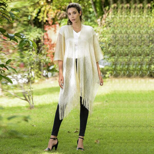 JOVIE Lurex Kimono with Tassel (Size:90x90cm) - Gold