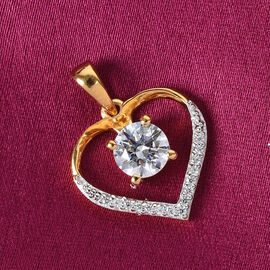 J Francis 14K Gold Overlay Sterling Silver Heart Pendant Made with SWAROVSKI ZIRCONIA 1.54 Ct.