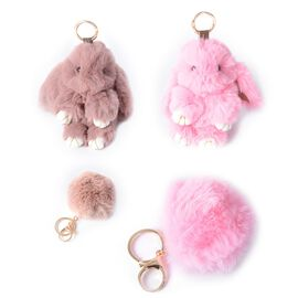 Set of 4 -  Faux Fur Easter Bunny and Pom Pom Keychain Colour Pink and Dark Pink