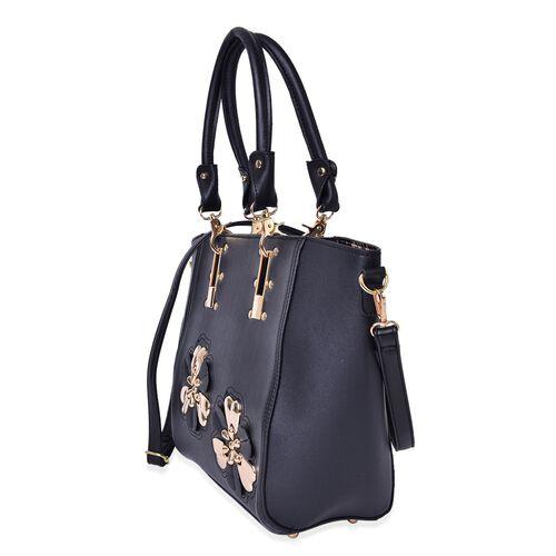 Set of 2 - Black Colour Floral Design Handbag (Size 46X30X30X11 Cm) and Chocolate and Black Colour Leopard Pattern Handbag (Size 30X24X12 Cm) with Adjustable and Removable Shoulder Strap
