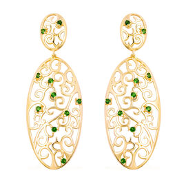 LucyQ Victorian Era Collcetion - Russian Diopside Filigree Earrings (with Push Back) in Yellow Gold