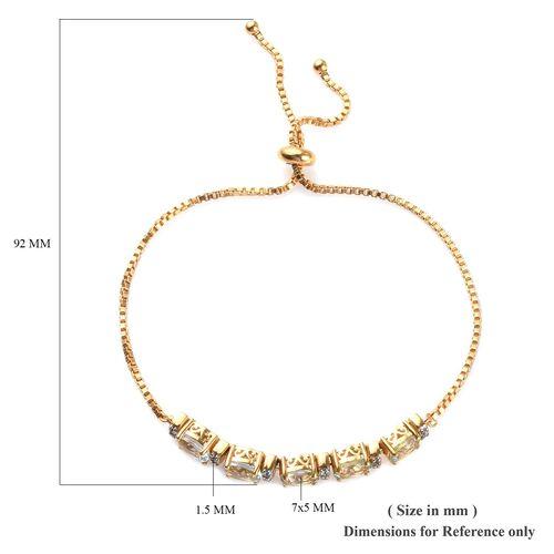 Espirito Santo Aquamarine (Ovl), Natural Cambodian Zircon Adjustable Bolo Bracelet (Size 6.5-9.5) in 14K Gold Overlay Sterling Silver 7.25 Ct, Silver wt 6.10 Gms