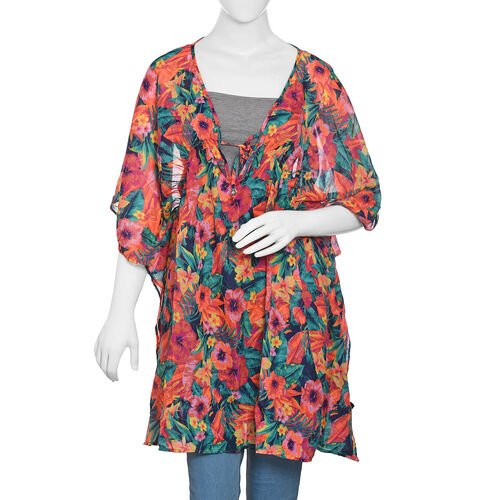 Designer Inspired Green, Orange and Multi Colour Tropical Flower and Leaves Pattern Kaftan (Size 80x