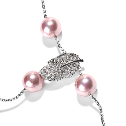 Purple Shell Pearl and Simulated Diamond Adjustable Necklace (Size 18) in Silver Tone