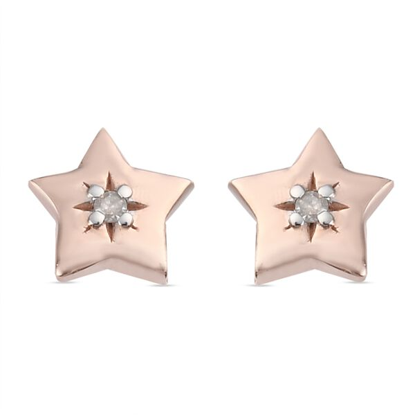 MP Natural Diamond Star Stud Earrings (with Push Back) in Rose Gold Overlay Sterling Silver