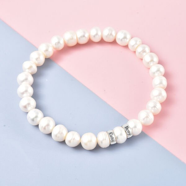 Personalised Engravable Fresh Water Pearl and 2 Ring Bracelet in Sterling Silver, Size 7 Inch