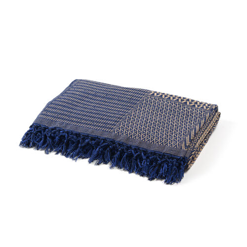 100% Cotton Hand Woven Beige and Royal Blue Patch Look Jacquard Bedcover with Fringes (Size 270x220