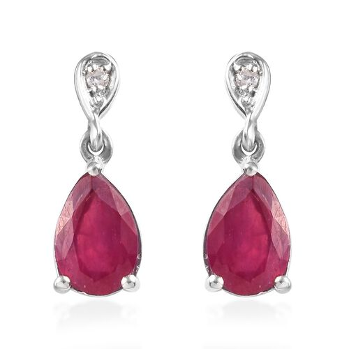 AA African Ruby (Pear 9x6 mm), Natural Cambodian Zircon Drop Dangle Earrings (with Push Back) in Pla