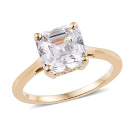 J Francis - 9K Yellow Gold (Asscher Cut 8x8 mm) Ring Made with SWAROVSKI ZIRCONIA Gold Wt 2.00 Grams