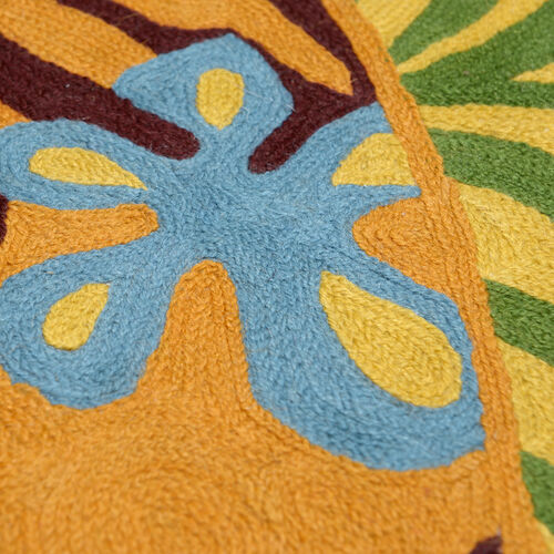Limited Edition - Hand Embroidered Multi Colour Leaves and Floral Pattern Woolen Bedside Rug (Size 90x60 Cm)
