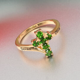 Personalise Engravable Russian Diopside Cross Ring in Silver