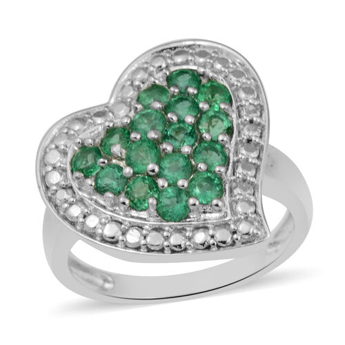 1.02 Ct AAA Kagem Zambian Emerald Heart Cluster Ring in Rhodium Plated Sterling Silver