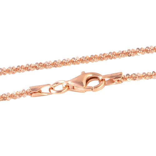 Black Friday Mega Deal-Rose Gold Overlay Sterling Silver Diamond Cut Rock Necklace (Size 30),Silver Wt 4.69 Gms.