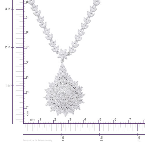 ELANZA Simulated White Dimaond (Rnd and Bgt) Floral Necklace (Size 17.5) in Rhodium Plated Sterling Silver. Silver wt 22.64 Gms.
