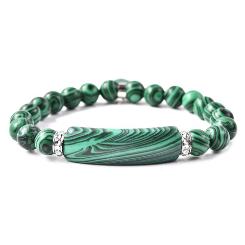 Simulated Malachite, White Austrian Crystal Stretchable Bracelet in Stainless Steel (Size 7)