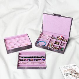 Three-Layer Jewellery Box with Light Pink Velvet Dust Cover on the Second and Third Layer (Size 24.5