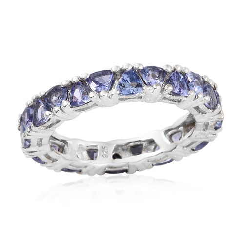 Tanzanite (Trl) Full Eternity Ring in Platinum Overlay Sterling Silver 2.750 Ct.