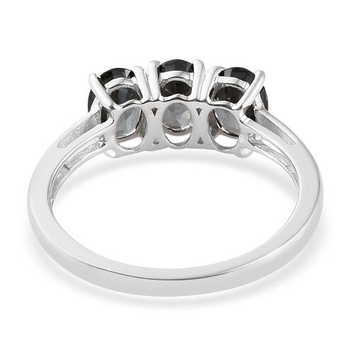 9K White Gold AAA Platinum Grey Spinel (Ovl) Trilogy Ring 1.750 Ct.