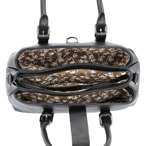 100% Genuine Leather Handbag with Detachable Shoulder Strap and Zipper Closure (Size 30x12x20cm) - Black