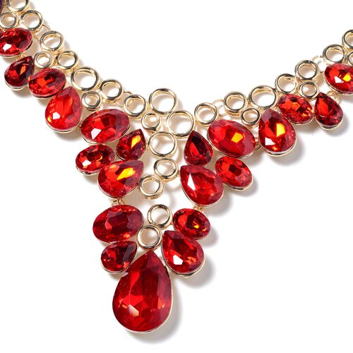 Simulated Ruby (Ovl and Pear) Necklace (Size 20 with 3 inch Extender) in Yellow Gold Tone