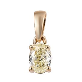 9K Yellow Gold Natural Yellow Diamond (Ovl) Solitaire Pendant 0.50 Ct.
