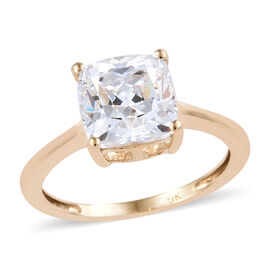J Francis - 9K Yellow Gold (Cush 8x8 mm) Solitaire Ring Made with SWAROVSKI ZIRCONIA