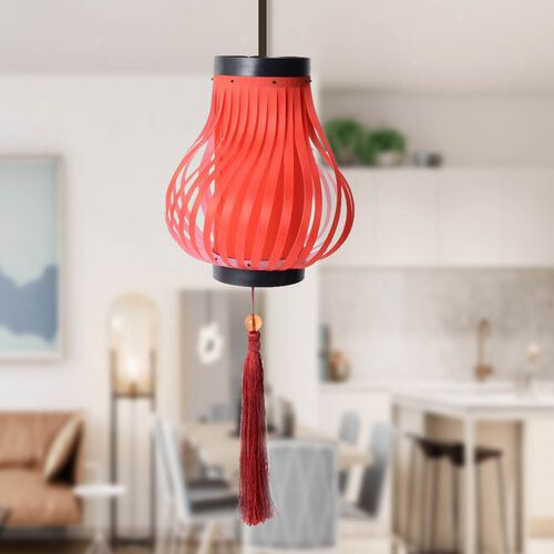 Red with Red Tassel DIY Lampshade (Size 12.3x28 Cm)