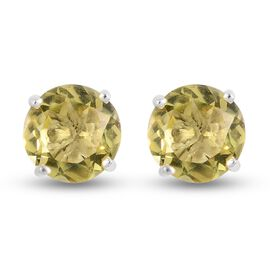 Green Gold Quartz Stud Earrings (with Push Back) in Sterling Silver 5.00 Ct.
