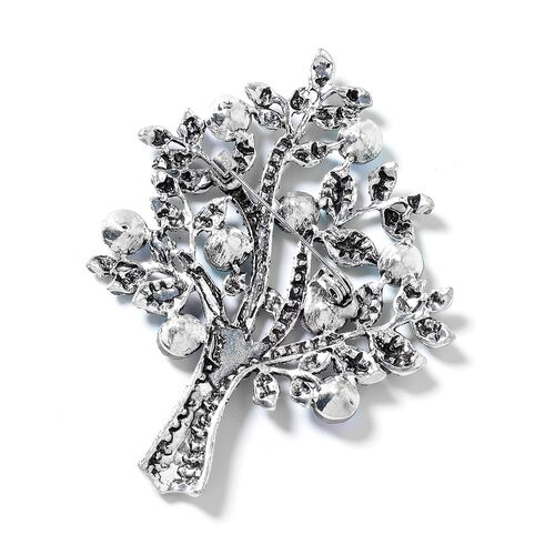 Simulated Blue Topaz (Rnd), Blue Austrian Crystal Tree of Life Brooch in Silver Plated