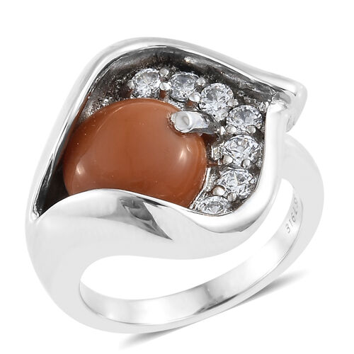 Oregon Caramel Opal (Rnd 2.70 Ct), Simulated Diamond Ring in Ion Plated Stainless Steel 3.500 Ct.