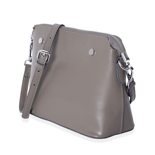 Maddie 100% Genuine Leather Grey Colour Crossbody Bag with Removable Shoulder Strap (Size 24x18x10 Cm)