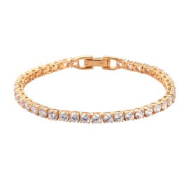 J Francis - 14K Gold Overlay Sterling Silver Tennis Bracelet (Size 7.5)  Made with SWAROVSKI ZIRCONI