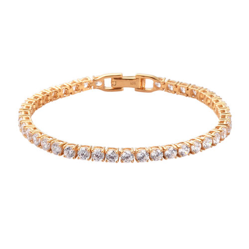 J Francis - 14K Gold Overlay Sterling Silver Tennis Bracelet (Size 7.5)  Made with SWAROVSKI ZIRCONI
