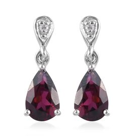 Rhodolite Garnet (Pear), Natural Cambodian Zircon Drop Earrings (with Push Back) in Platinum Overlay