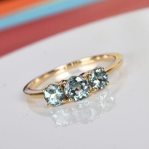 14K Yellow Gold AAA Narsipatnam Alexandrite Three Stone Ring 1.00 Ct.